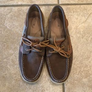 Brown suede leather sperry topsider boat shoes